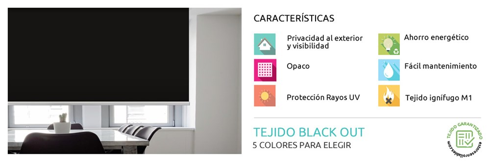 Estor Enrollable Blackout Blade Opaco | Estoresenrollables.com